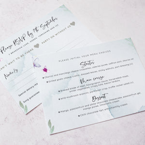 RSVP card featuring menu choices from our 'Flower Press Wreath' collection