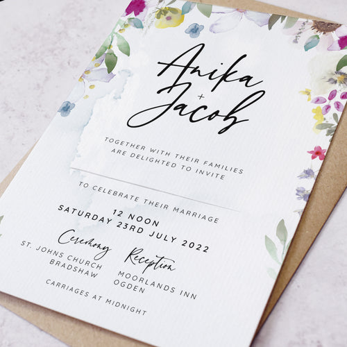 Flower Press Wedding Invitation