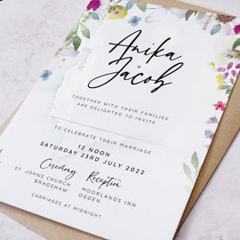 'Flower Press' wedding evening reception invite