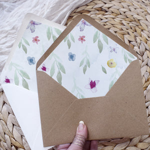 DIY wedding envelope liners in modern floral style