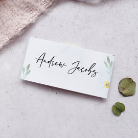 'Flower Press' Modern floral tent fold wedding place cards