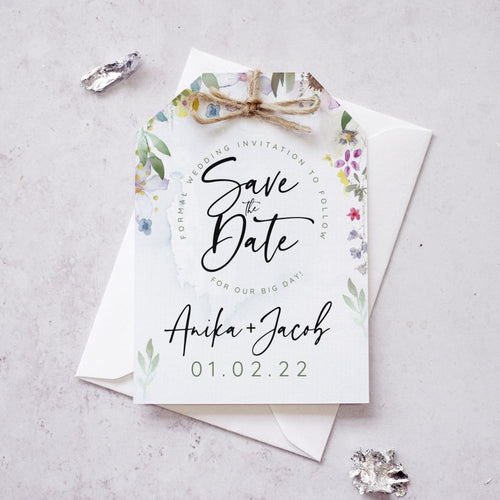 'Flower Press' modern floral save the date cards
