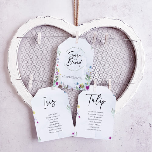'Flower Press' Wedding Seating Plan Cards