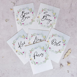 'Flower Press' Personalised wedding table name cards