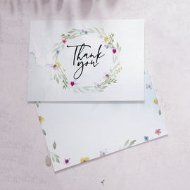 'Flower Press' double sided wedding guest thank you cards