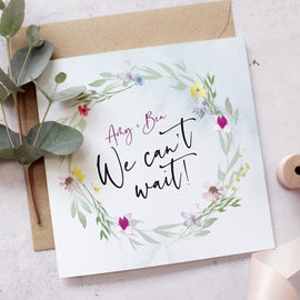 'Flower Press' Personalised wedding acceptance card