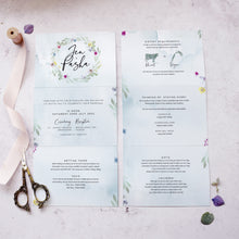 Load image into Gallery viewer, 'Flower Press Wreath' folded concertina style wedding invites
