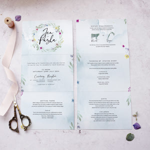 'Flower Press Wreath' folded concertina style wedding invites