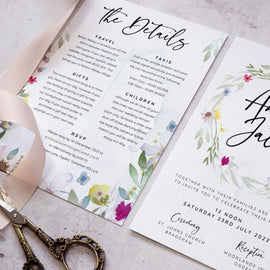 'Flower Press Wreath' wedding details cards