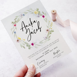 'Flower Press Wreath' wedding evening reception invite