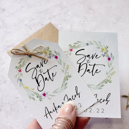 Flower Press Wreath Save the Dates