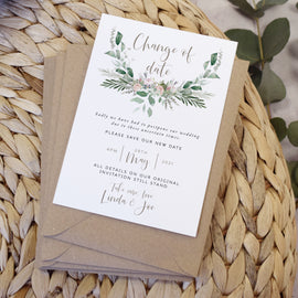 'Foliage Blush\ Wedding change the date cards