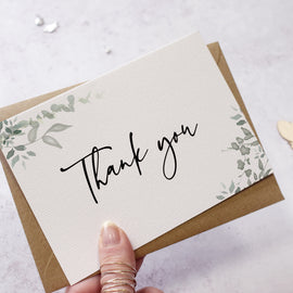 'Greenery' wedding thank you postcards