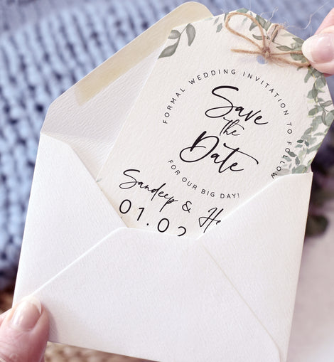 'Greenery' wedding save the date card with white envelope