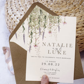 'Whisper' rustic wedding evening reception invites