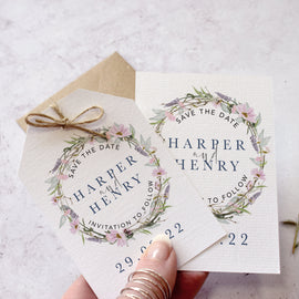'Whisper Wreath' wildflower wedding save the date cards