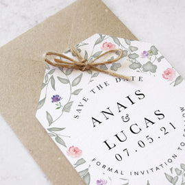 'Secret Garden' Personalised Wedding Save the Date Cards