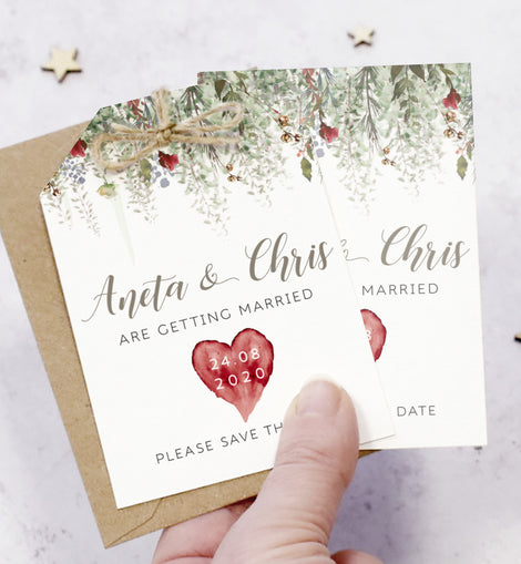 'Whimsical Noel' Christmas Wedding Save the Date Cards