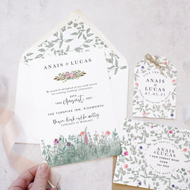 Secret Garden Flat Wedding Invitation