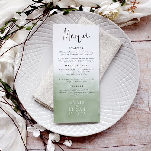 'Secret Garden' Personalised Wedding Menu Cards
