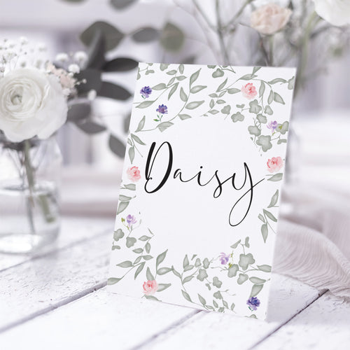 'Secret Garden' Personalised Wedding Table Name Cards