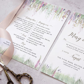 evening wedding reception invite for a whimsical wedding