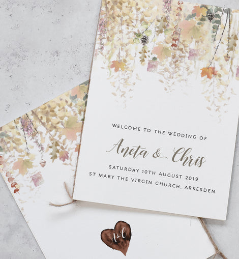 'Whimsical Autumn' Wedding Order of Service
