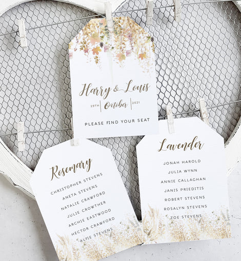 'Whimsical Autumn' Wedding Seating Plan Cards