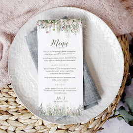 Personalised wedding menu cards for a barn wedding