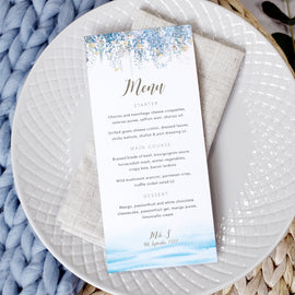 'Whimsical Coast' personalised wedding menu cards