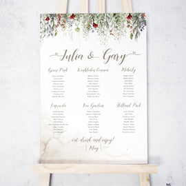 'Whimsical Noel' Christmas Wedding Table Plan