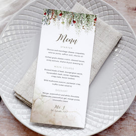 'Whimsical Noel' Personalised Wedding Menu Cards
