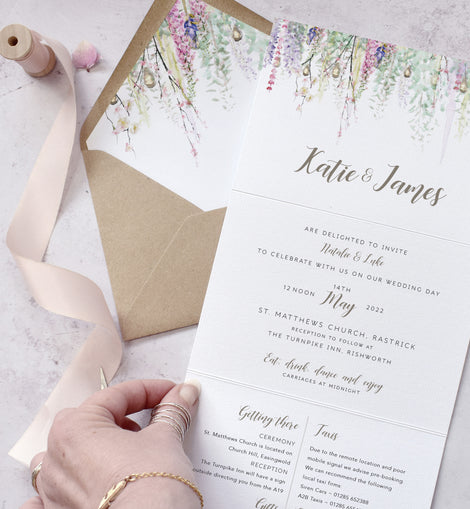'Whimsical SPring' personalised wedding invitations