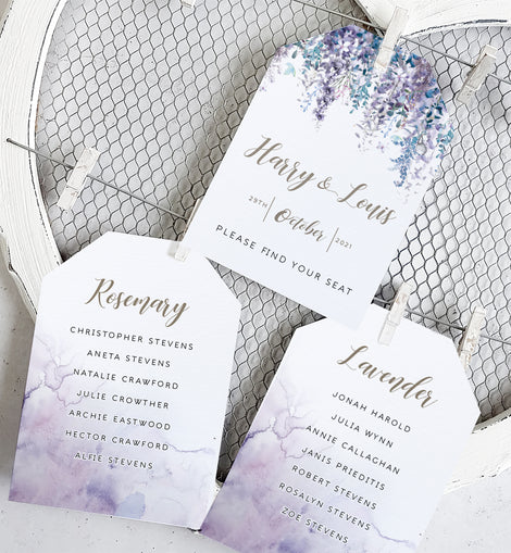'Whimsical winter' winter wedding seating plan cards