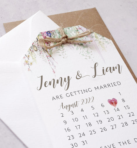 'Whimsical Spring' personalised wedding  save the date cards