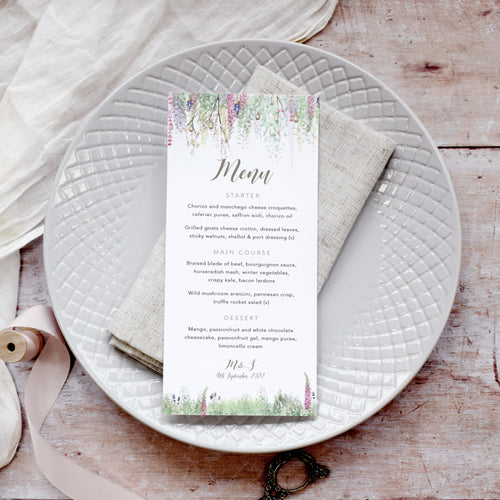 'Whimsical Spring' Personalised Wedding Menu Cards