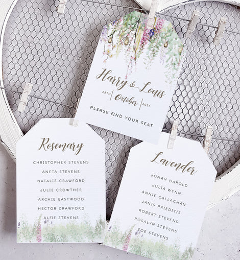 'Whimsical Spring' Personalised Wedding Seating Plan cards