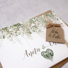 rustic wedding invites personalised with guest names