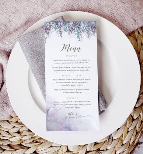 'Whimsical Winter' personalised winter wedding menu cards