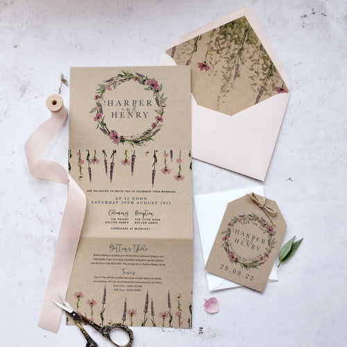 concertina fold 'Whisper Kraft' rustic wedding invitations