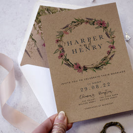 'Whisper Kraft' wedding evening reception invites