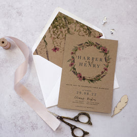 """whisper Kraft' wedding invitations for Boho Wedding"