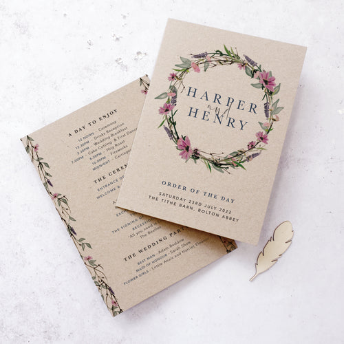 'Whisper Kraft' Personalised rustic wedding program