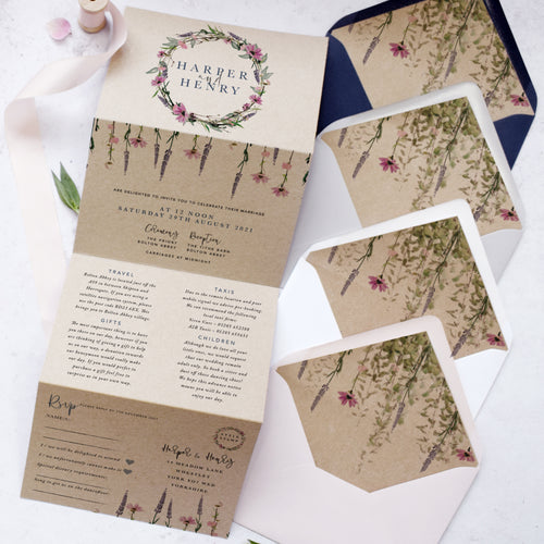 'Whisper Kraft' wedding invites for boho weddings