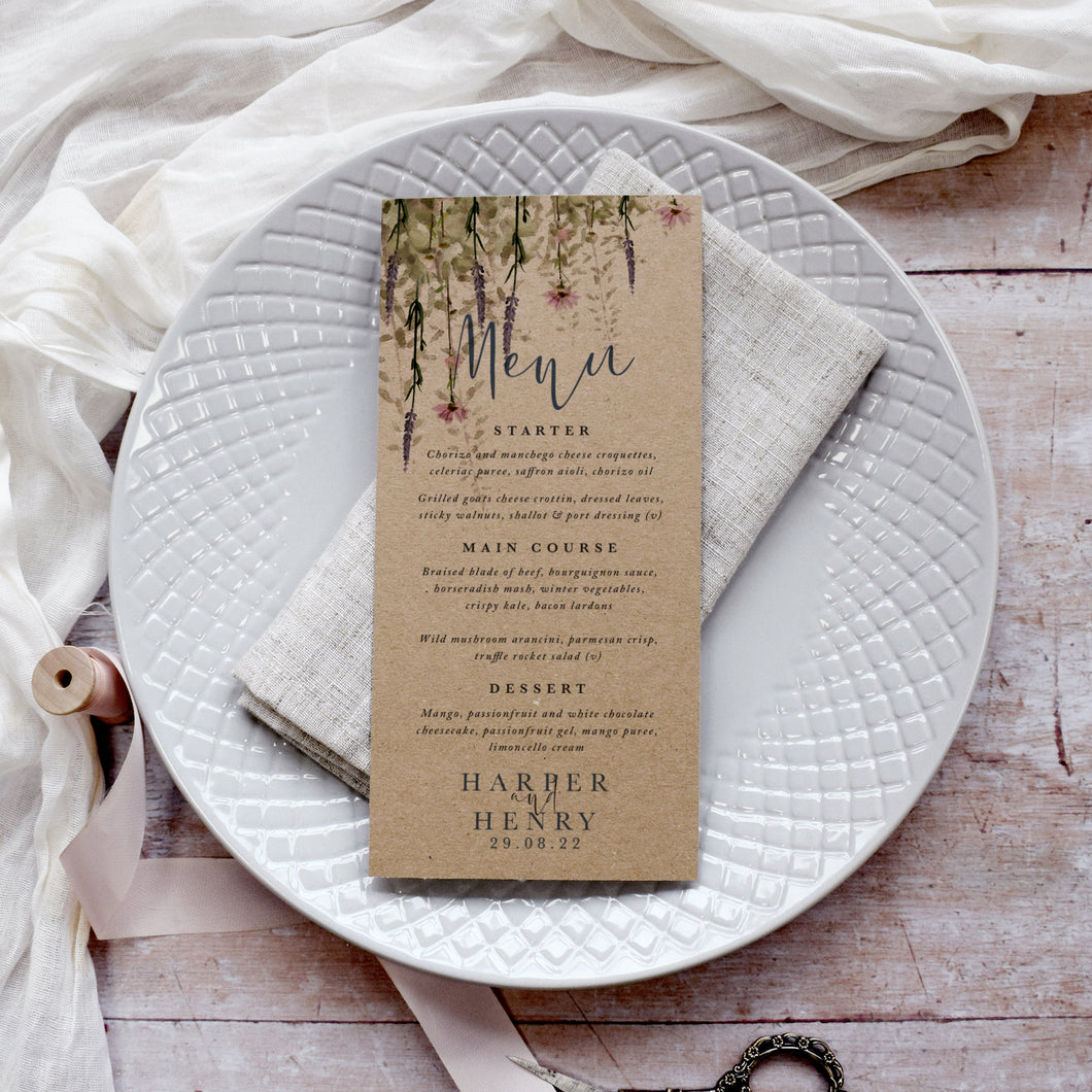 'Whisper Kraft' Personalised Wedding Menu Cards