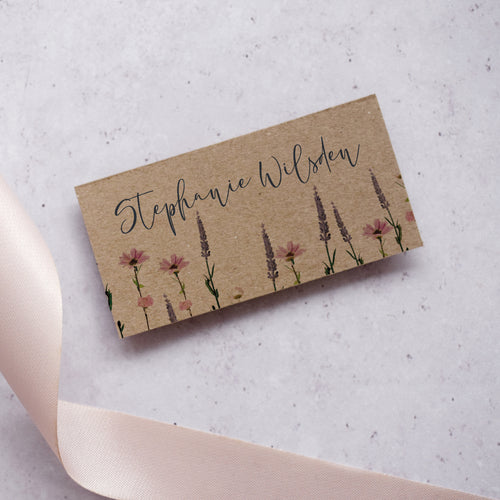 'Whisper Kraft' Personalised Wedding Place Card