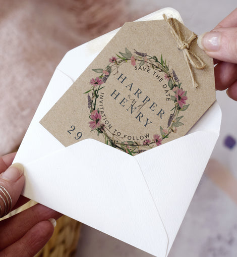 'Whisper Kraft' Save the date cards for a rustic wedding