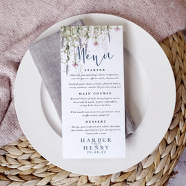 'Whisper' Wedding Menu Cards