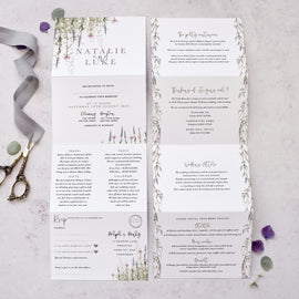 'Whisper' folded wedding invite with RSVP