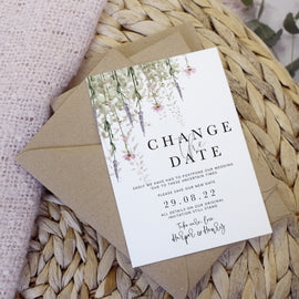 'Whisper' wedding change the date cards